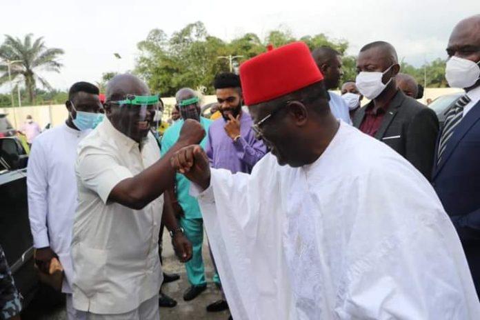 Gov Umahi Meets Gov Ikpeazu In Abia State (Photos)