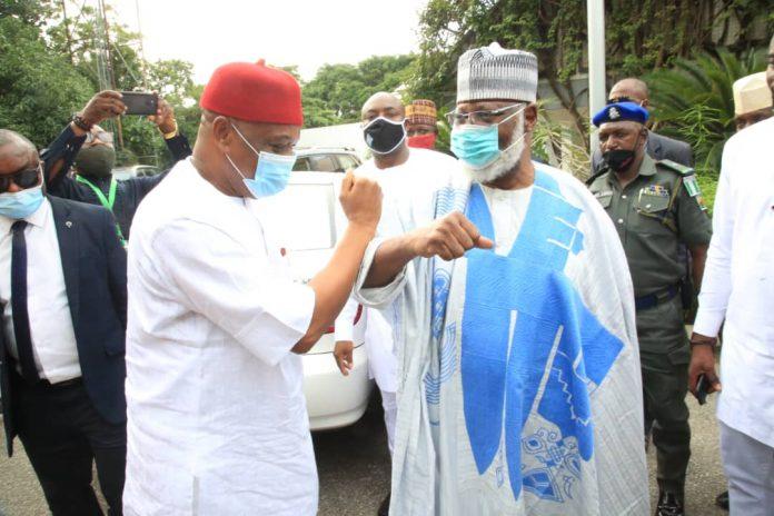 Orji Kalu Meets Abdulsalami Abubakar In Minna