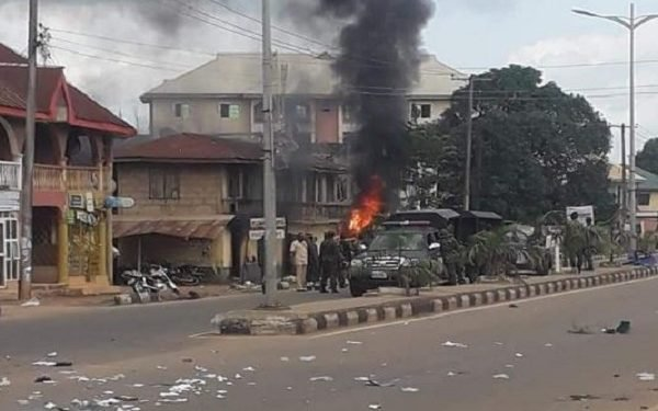 Suspected IPOB Members Burn Police Station In Ebonyi