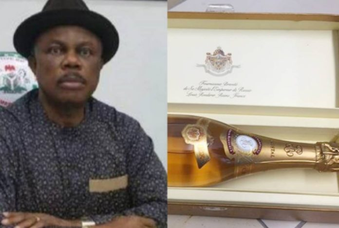 Gov Obiano Blows ₦8 Million On Customised Champagne Bottle