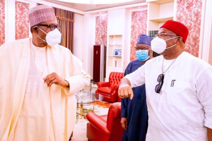 Rochas: President Buhari Meets Uzodinma In Aso Villa