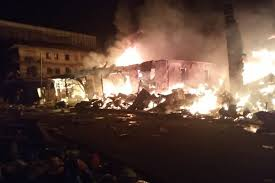 Fire Guts Plastic Market In Onitsha Anambra State