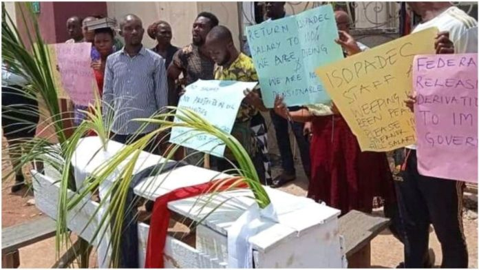 ISOPADEC Staff Protest In Imo, Bear Casket To Mock Uzodinma
