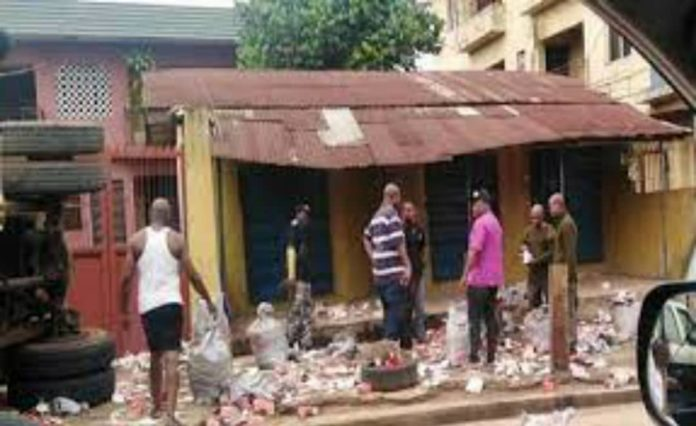 Truck Loads Of Ammunition Falls In Onitsha, Spills Contents