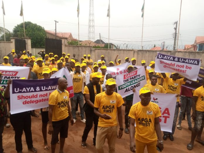 Anambra 2021 APGA Youths Protest Alleged Imposition Plan